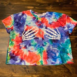 Skeleton Hands Tie Dye Crop Shirt